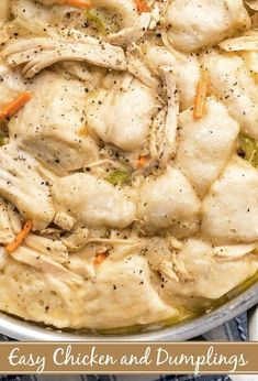 Need Chicken and Dumplings fast? This deliciously creamy stovetop Chicken And Dumplings recipe made with canned biscuits, in just 30 minutes, is what you need! Biscuit Chicken And Dumplings, Chicken And Pastry, Chicken And Dumplins, Homemade Chicken And Dumplings, Dumplings For Soup, Chicken And Biscuits, Dumpling Recipe, Canned Biscuits, Easy Biscuits