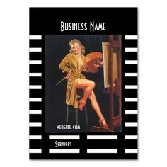 Business Card Black Pin up Girl Vintage retro Business Cards