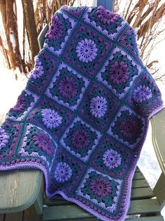 Mauve Lavender Teal Popcorn Wheels Crocheted Afghan by JansAfghans. $80.00 USD, via Etsy.