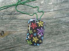 Color Burst Dog Tag Pendant Necklace. $10.00, via Etsy.