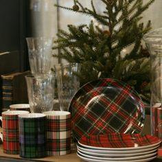 Plaid Plates and Mugs