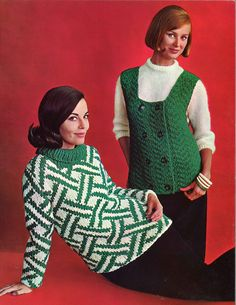 Emerald & Diamonds • 1960s Pullover Sweater Patterns • 60s Vintage Ribbed Cabled Flowers Knitting Jumper Pattern • Retro Knit PDF by TheStarShop on Etsy