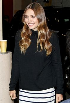 OLSENS ANONYMOUS ELIZABETH LIZZIE OLSEN FASHION STYLE BLOG AFTER THE LIVE WITH KELLY MICHAEL INTERVIEW VIDEO TURTLENECK SWEATER STRIPE MIDI PENCIL SKIRT OSTRICH TAN BROWN OXFORDS SHINY WAVY HAIR SMILE RINGS LIBERAL ARTS 1