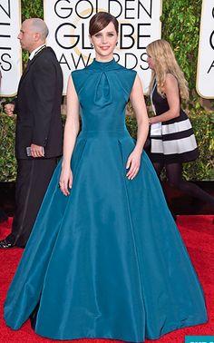 Felicity Jones. Golden Globes 2015 Red Carpet