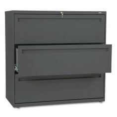 HON Products - HON - Brigade 700 Series Three-Drawer Lateral File, 42w x 19-1/4d x 40-7/8h, Charcoal - Sold As 1 Each - Counterweight included, where applicable, to meet ANSI/BIFMA requirements. - Lock secures both sides of drawer. - Three-part telescoping slide suspension. - Leveling glides adjust for uneven floors. - Mechanical interlock allows only one drawer to open at a time to inhibit.... $716.69. HON - Brigade 700 Series Three-Drawer Lateral File, 42w x 1...