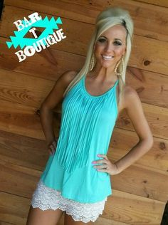 Mint Fringe Top from Bar T Boutique
