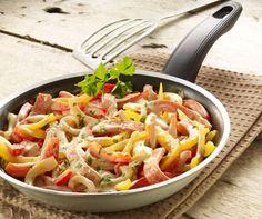 Fleischkäse-Paprika-Pfanne