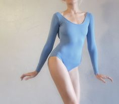 Handmade microfiber ballet leotard with long sleeves. Women's Small