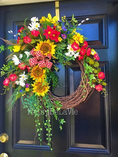 Summer Wreath For Front Door, Wreath, Front Door Wreath, Grapevine Door  Wreathu2026