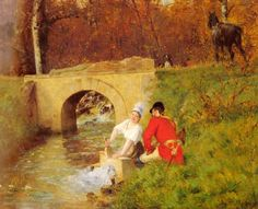 A Moment Aside :: Alphonse Gaudefroy - Romantic scenes in art and painting ôîòî