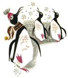penguins..... mid century graphic