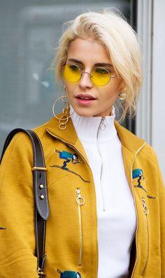 Love these flashy yellow tinted round Ray-Ban sunglasses