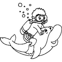Scuba Diver and Dolphin Coloring Sheet - Sonlight, Core A - Dolphin Adventure