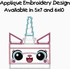 Lego Movie Unikitty Applique Embroidery Design Available in 5x7 and 6x10 This design comes in the following formats: dst, exp, vp3, vip, jef,