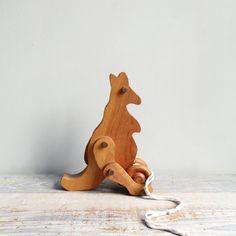 Vintage Handmade Kangaroo Pull Toy / Modern Folk, Wood, Waldorf