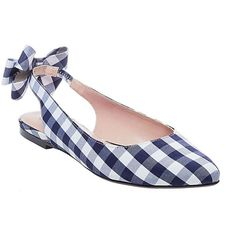 Betsey Johnson Ann Flats (185 BRL) ❤ liked on Polyvore featuring shoes, flats, blue gingham, pointed flat shoes, slip-on shoes, ankle wrap flats, blue flats and closed toe flats