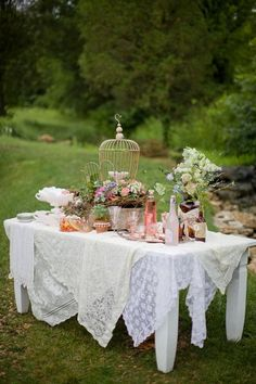 Layer a table with lace tablecloths.