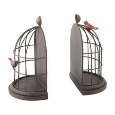 <div>Charming birdcage bookends look like they are vintage, but they are new! These rusty iron b...