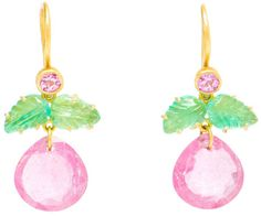 Marie-hélène De Taillac Emerald and Rubellite Drop Earrings in Pink