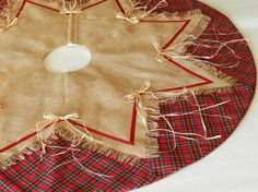 Christmas Tree Skirt  Natural Burlap and by PaintedCanyonStudio, $145.00