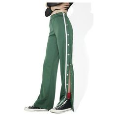 JUICY COUTURE Sporty Velour Wide Leg Trousers ($128) ❤ liked on Polyvore featuring pants, tailored trousers, tailored pants, green pants, wide-leg pants and cropped trousers
