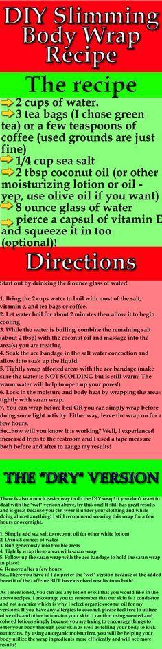 DIY Slimming Body Wrap Recipe: Green Tea, Coconut and Vitamin E. Salt Scrub