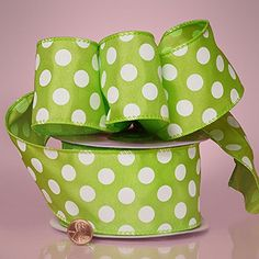 2-1/2' X 20YD LIME JUMBO DOTS WIRED SATIN RIBBON ** Read more reviews of the product by visiting the link on the image.