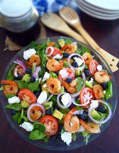 Shrimp Blueberry and Avocado Salad with Balsamic