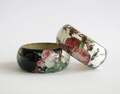 Bangle wood bracelet decoupage shabby chic victorian by LENNYshop, €36.00