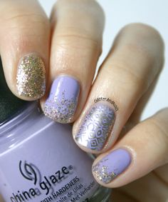 Glitter and Nails: Stamping China Glaze Tart-y For The Party, Color Club Gingerbread, stamped with Good As Gold Essie
