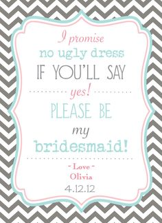 4 cards - Will You Be My Bridesmaid Invitations  - Flat card with envelopes