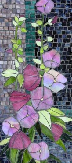 Hollyhocks stained glass