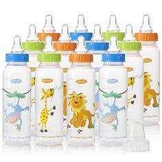 Evenflo Zoo Friends Bottle, 8oz 12 Pack  Silicone nipple with Micro Air Vents help prevent nipple collapse  Available in an assortment of designs and colors  8 fl. oz. size is just right for growing babies  100% free of BPA, polycarbonates, PVC and phthalates and are made of FDA approved food grade material