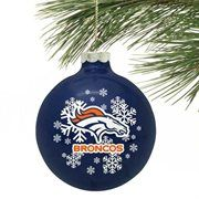 Denver Broncos Navy Blue Snowflake Glass Ornament
