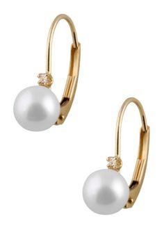 14K Yellow Gold 5-5.5mm Akoya Pearl & Diamond Earrings by Gilo Creations on @HauteLook