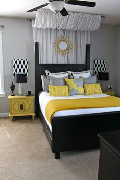 Master bedroom--black and white with pops of yellow