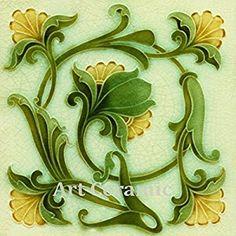 Amazon.com: Art Nouveau Ceramic Tile 6 Inches Reproducction #0038: Kitchen & Dining