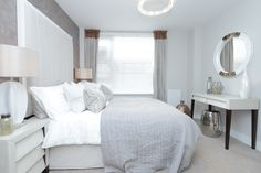 Show home bedroom at Water's Edge, Taunton