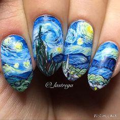 So Here Is Starry Night By Vincent Van Gogh Nails Nailart Nail Nailartwow Nailprodigy Nailpromote Nailartfeature Nailstagram Nailspiration