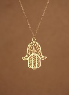 Hamsa necklace - gold hamsa charm - khamsa necklace - a filigree style 22k gold overlay hamsa on a 14k gold vermeil chain