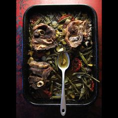Saneeyeh Bil Fern (Roasted Lamb Shoulder and Vegetables) by Saveur Best Lamb Recipes, Okra Recipes, Vegetable Recipes, Chicken Recipes, Healthy Recipes, Lamb Dishes, Tasty Dishes, Side Dishes, Slow Roast Lamb