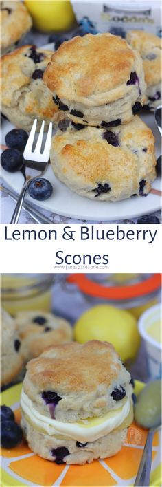 Lemon & Blueberry Scones! Delicious Fresh Lemon and Blueberry Scones with Clotted Cream and Lemon Curd.