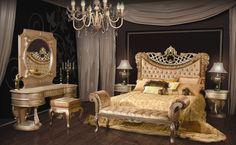 Classic bedroom glamor in select hardwoods and Italian velour