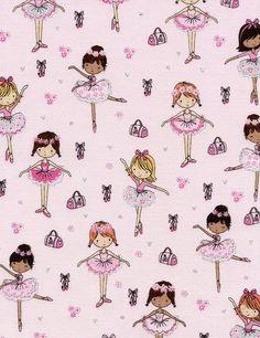 Ballet Fabric Glitter Ballerina Little Girl Pink Dance Timeless Treasures Cotton