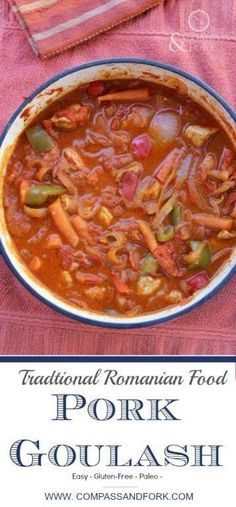 Traditional Romanian Food: Pork Goulash A traditional Romanian Goulash recipe- easy to make, paleo and gluten free. Serve with polenta Traditional Romanian Food: Pork Goulash Pork Goulash, Goulash Recipes, Pork Recipes, Paleo Recipes, Dinner Recipes, Cooking Recipes, Vitamix Recipes, Fodmap Recipes, Simple Recipes