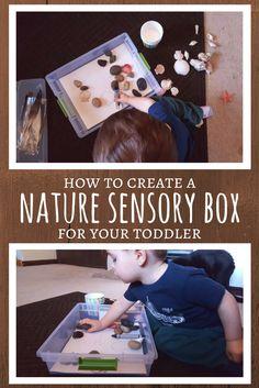 How to create a nature sensory bin for toddler - nature sensory box.