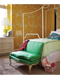 this room is so insanely awesome... Scalamandre's Zebras, kelly green settee, and a fab iron canopy-esque bed!?!?!