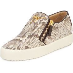 Giuseppe Zanotti Python-Embossed Slip-On Sneaker ($725) ❤ liked on Polyvore featuring shoes, sneakers, snake skin shoes, leather sneakers, leather shoes, python shoes and snakeskin sneakers