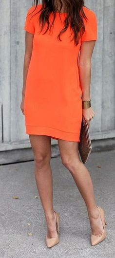 Sandals Summer - bright orange dress and nude - There is nothing more comfortable and cool to wear on your feet during the heat season than some flat sandals. Cheap Dresses, Cute Dresses, Summer Dresses, Shift Dresses, Orange Dress Summer, 60s Dresses, Peplum Dresses, Woman Dresses, Daytime Dresses