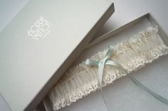 a l i c e  ivory lace garter with silk something blue garter lace and silk garter bridal shower gift